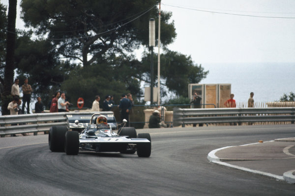 1971 Monaco Grand Prix.  Monte Carlo, Monaco. 20th-23rd May 1971.  Jackie Stewart, Tyrrell 003 Ford, 1st position, corrects a slide coming into Casino Square.  Ref: 71MON03. World Copyright: LAT Photographic
