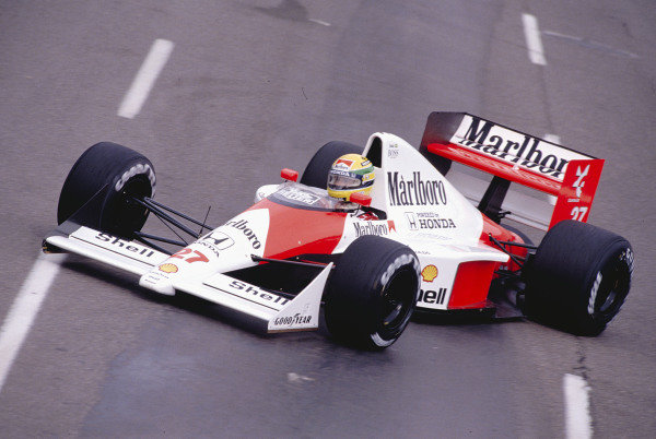 1990 United States Grand Prix.Phoenix, Arizona, USA.9-11 March 1990.Ayrton Senna (McLaren MP4/5B Honda) 1st position.Ref-90 USA 54.World Copyright - LAT Photographic