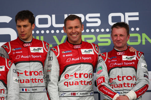 2013 FIA WEC Championship, Silverstone, Northamptonshire. 12th - 14th April 2013. Tom Kristensen / Loic Duval / Allan McNish Audi R18 e-tron quattro World Copyright: Ebrey / LAT Photographic.