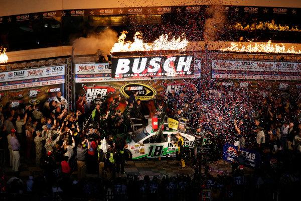 11-13 April, 2013, Fort Worth, Texas, USA Winner Kyle Busch celebrates in Victory Lane © 2013, Michael L. Levitt LAT Photo USA.