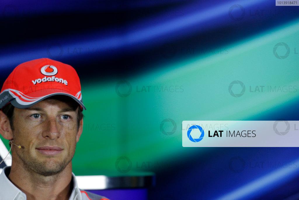 Bahrain International Circuit, Sakhir, Bahrain Thursday 18th April 2013 Jenson Button, McLaren, in the Thursday Press Conference. World Copyright: Charles Coates/LAT Photographic ref: Digital Image _N7T8500