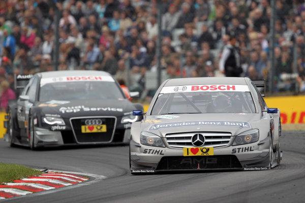 Bruno Spengler (CDN), Mercedes-Benz Bank AMG, Mercedes-Benz Bank AMG C-Klasse (2009) ahead of Timo Scheider (GER), Audi Sport Team Abt, GW:plus/Top Service Audi A4 DTM (2009). They finished 2nd and 3rd respectively.DTM, Rd7, Brands Hatch, England, 3-5 September 2010.World Copyright: LAT Photographicref: dne1005se194