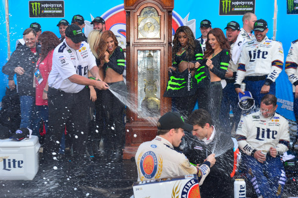 2017 Monster Energy NASCAR Cup Series STP 500 Martinsville Speedway, Martinsville, VA USA Sunday 2 April 2017 Brad Keselowski and team celebrate in victory lane World Copyright: Logan Whitton/LAT Images ref: Digital Image 17MART1LW2778