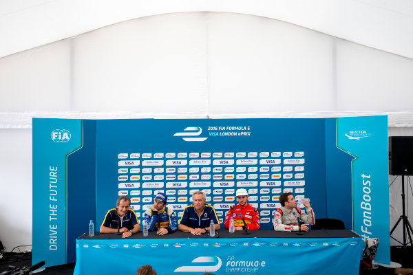 2015/2016 FIA Formula E Championship. London ePrix, Battersea Park, London, United Kingdom. Sunday 3 July 2016. Post race press conference. Alain Prost, Nicolas Prost (FRA), Renault e.Dams Z.E.15, Jean-Paul Driot, Daniel Abt (GER), ABT Audi Sport FE01 and Jerome D'Ambrosio (FRA) Dragon Racing - Venturi VM200-FE-01  Photo: Zak Mauger/LAT/Formula E ref: Digital Image _79P3175