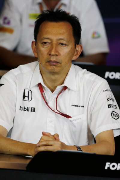 Red Bull Ring, Spielberg, Austria. Friday 01 July 2016. Yusuke Hasegawa, Senior Managing Officer, Honda, in the team principals Press Conference. World Copyright: Andy Hone/LAT Photographic ref: Digital Image _ONZ5075