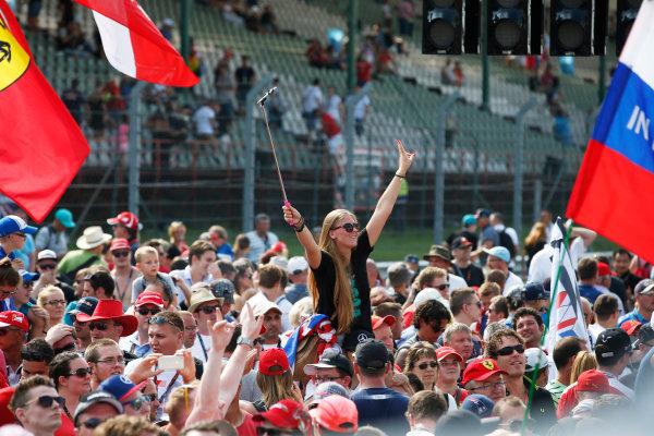 Hungaroring, Budapest, Hungary. Sunday 24 July 2016. Fans gather at the podium. World Copyright: Glenn Dunbar/LAT Photographic ref: Digital Image _W2Q8457