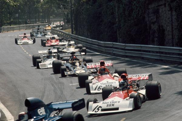 1973 Spanish Grand Prix.  Montjuich Park, Barcelona, Spain. 27-29th April 1973.  Jackie Stewart, Tyrrell 006 Ford, leads Jean-Pierre Beltoise, BRM P160E, Niki Lauda, BRM P160E, Emerson Fittipaldi, Lotus 72E Ford, Carlos Reutemann, Brabham BT42 Ford, Peter Revson, McLaren M23 Ford, Jacky Ickx, Ferrari 312B3, and Clay Regazzoni, BRM P160E.  Ref: 73ESP13. World Copyright: LAT Photographic