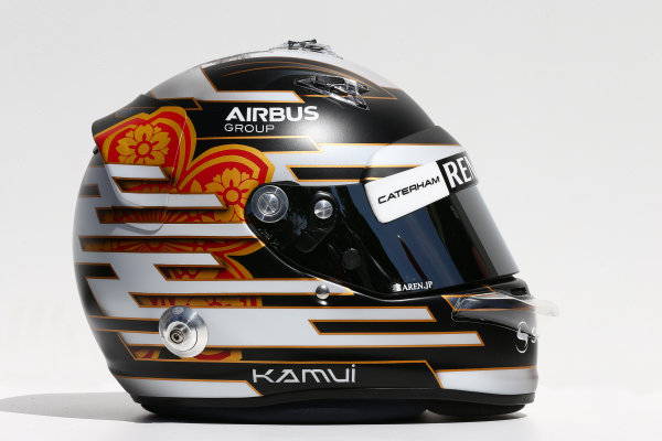 Albert Park, Melbourne, Australia. Thursday 13 March 2014. The helmet of Kamui Kobayashi (JPN) Caterham. World Copyright: xpb Images/LAT Photographic. ref: Digital Image 2014helmets18