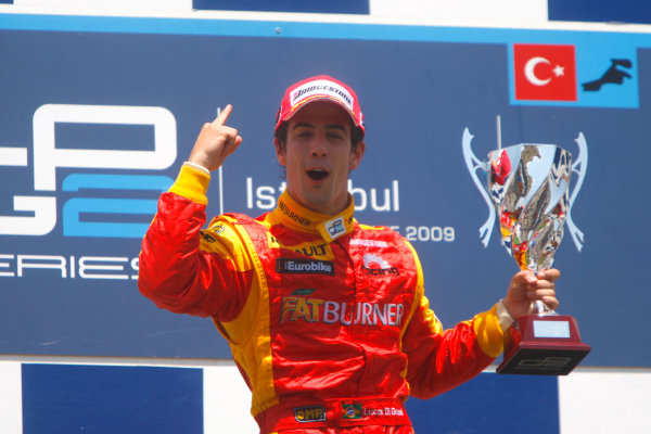 Sunday Race. 7th June 2009. Lucas Di Grassi (BRA, Fat Burner Racing Engineering) celebrates his victory on the podium. World Copyright: Alastair Staley/ GP2 Series Media Service.Ref: _O9T1030 jpg