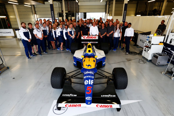 Williams 40 Event Silverstone, Northants, UK Friday 2 June 2017. A group photo next to the Williams FW14B Renault.  World Copyright: Sam Bloxham/LAT Images ref: Digital Image _W6I6773
