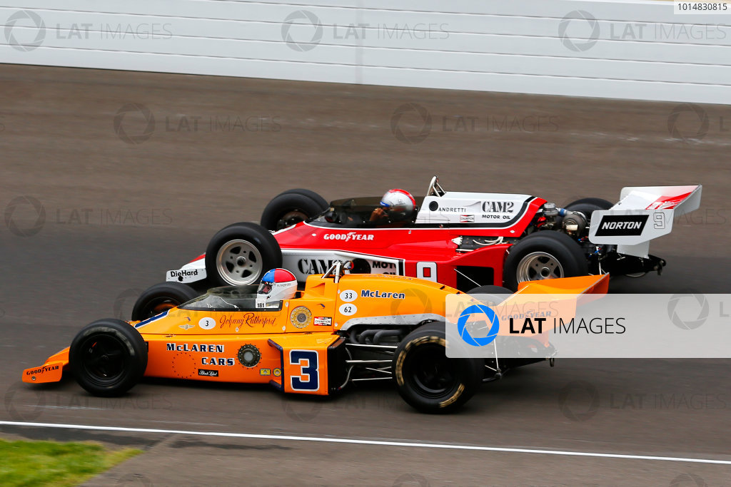 Verizon IndyCar Series Indianapolis 500 Practice Indianapolis Motor Speedway, Indianapolis, IN USA Saturday 27 May 2017 Johnny Rutherford, 3 McLaren M16, and Mario Andretti, 9 McLaren M24 World Copyright: Russell LaBounty LAT Images