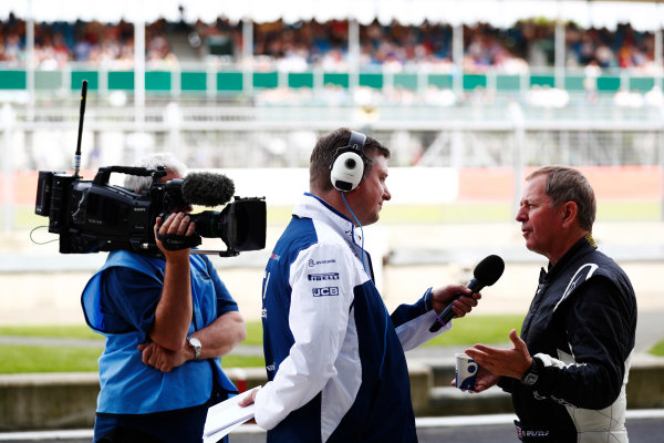 Williams 40 Event Silverstone, Northants, UK Friday 2 June 2017. David Croft interviews Martin Brundle. World Copyright: Sam Bloxham/LAT Images ref: Digital Image _J6I6413