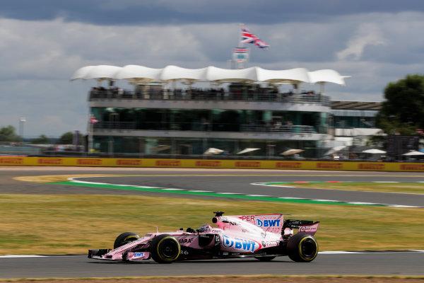Silverstone, Northamptonshire, UK.  Friday 14 July 2017. Sergio Perez, Force India VJM10 Mercedes. World Copyright: Zak Mauger/LAT Images  ref: Digital Image _54I4454