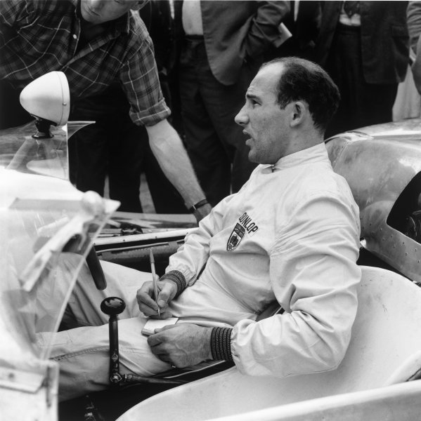 Stirling Moss (Lotus 19-Climax), portrait.