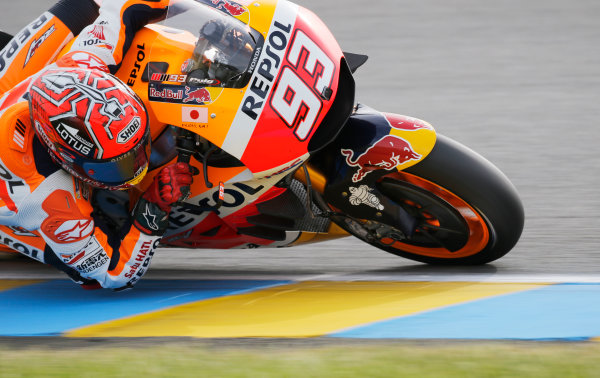 2016 MotoGP Championship.  French Grand Prix.  Le Mans, France. 6th - 8th May 2016.  Marc Marquez, Honda.  Ref: _W7_8474a. World copyright: Kevin Wood/LAT Photographic