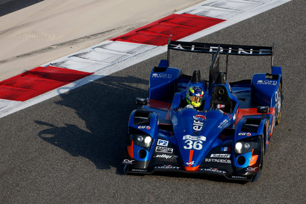2015 FIA World Endurance Championship Bahrain 6-Hours Bahrain International Circuit, Bahrain Saturday 21 November 2015. Nelson Panciatici, Paul Loup Chatin, Tom Dillmann (#36 LMP2 Signatech Alpine Alpine A450B Nissan). World Copyright: Alastair Staley/LAT Photographic ref: Digital Image _79P0325