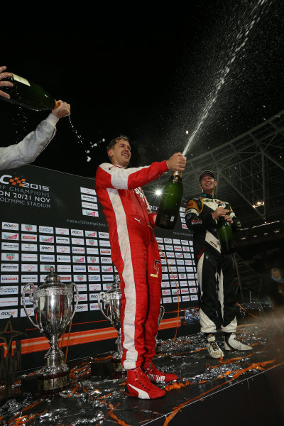 2015 Race Of Champions Olympic Stadium, London, UK Saturday 21 November 2015 Sebastian Vettel (GER) and Petter Solberg (NOR) celebrate on the podium Copyright Free FOR EDITORIAL USE ONLY. Mandatory Credit: 'IMP'