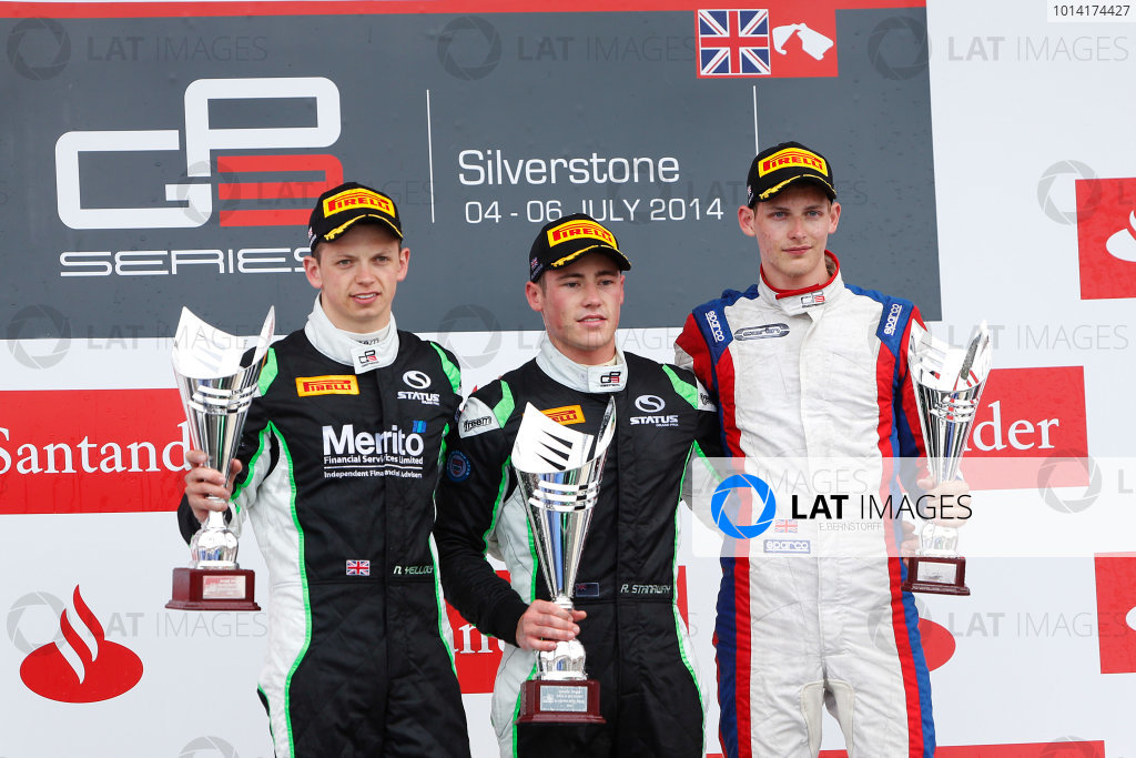 Round 3 - Silverstone, UK  2014 GP3 Series Round 3. Silverstone International Circuit, Silverstone, Northamptonshire, England. Sunday 6 July. Richie Stanaway (NZL, Status Grand Prix) , Emil Bernstorff (GBR, Carlin) and Nick Yelloly (GBR, Status Grand Prix) on the podium after race two. Photo: Sam Bloxham/GP3 Series Media Service.  ref: Digital Image _SBL7819