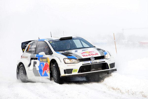 Jari-Matti Latvala (FIN) and Miikka Anttila (FIN), Volkswagen Polo WRC on stage 20. FIA World Rally Championship, Rd2, Rally Sweden, Karlstad, Sweden, Day Three, Sunday 10 February 2013.