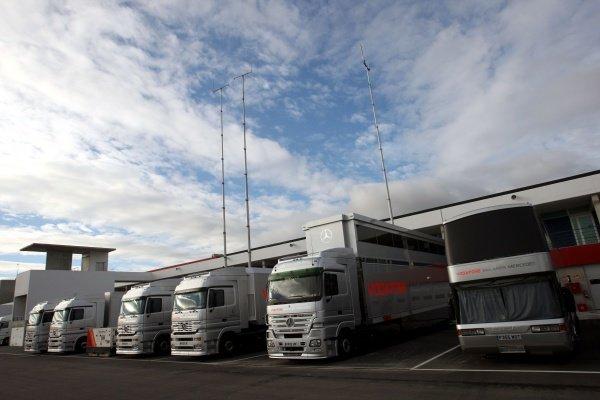 McLaren trucks in the paddock. Formula One Testing, Day Three, Algarve Motor Park, Portimao, Portugal, 17 December 2008.