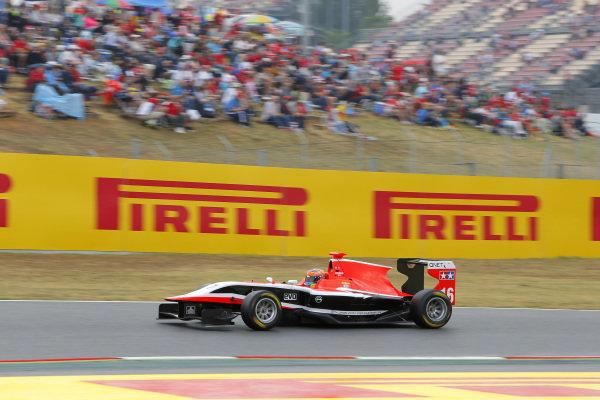 Race two winner Dean Stoneman (GBR) Marussia Manor Racing. GP3 Series, Rd1, Barcelona, Spain, 9-11 May 2014.