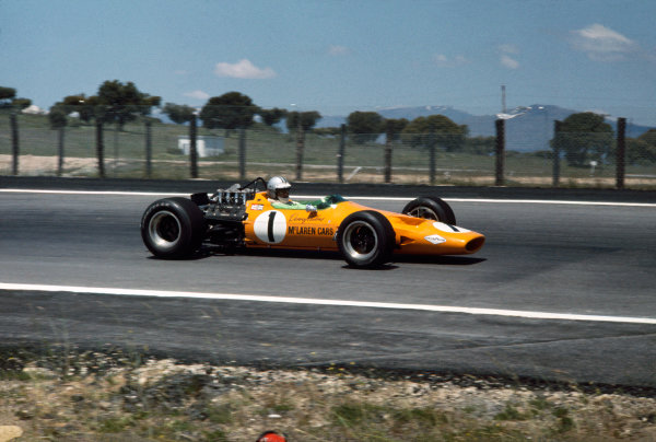 Jarama, Madrid, Spain. 10 - 12 May 1968.Denny Hulme (McLaren M7A-Ford), 2nd position, action. World Copyright: LAT Photographic.Ref:  68ESP16.