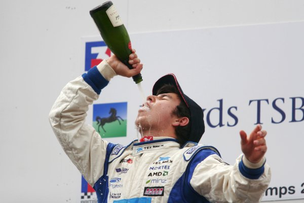 2007 British Formula Three Championship. Spa, Belgium. 26th - 28th July 2007.Sergio Perez (T Sport) celebrates victory on the podium.Portrait.World Copyright: Drew Gibson/LAT Photographic.Ref: Digital Image Only.