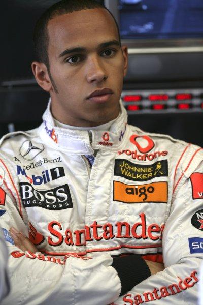 2007 British Grand Prix - Saturday QualifyingSilverstone, Northamptonshire, England.7th July 2007.Lewis Hamilton, McLaren MP4-22 Mercedes. Portrait. World Copyright: Steven Tee/LAT Photographicref: Digital Image YY2Z5418
