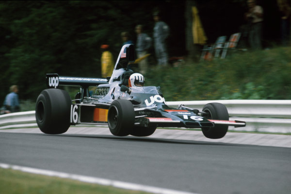 1975 German Grand Prix.  Nurburgring, Germany. 1-3rd August 1975. Tom Pryce (Shadow DN5B Ford) 4th position, action. World Copyright: LAT Photographic. Ref: 75GER07