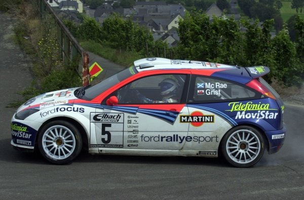 Colin McRae (GBR) Ford Focus RS WRC in action on Stage 5.FIA World Rally Championship, Rd10, Rallye Deutschland, Germany. Leg 1. 23 August 2002.DIGITAL IMAGE
