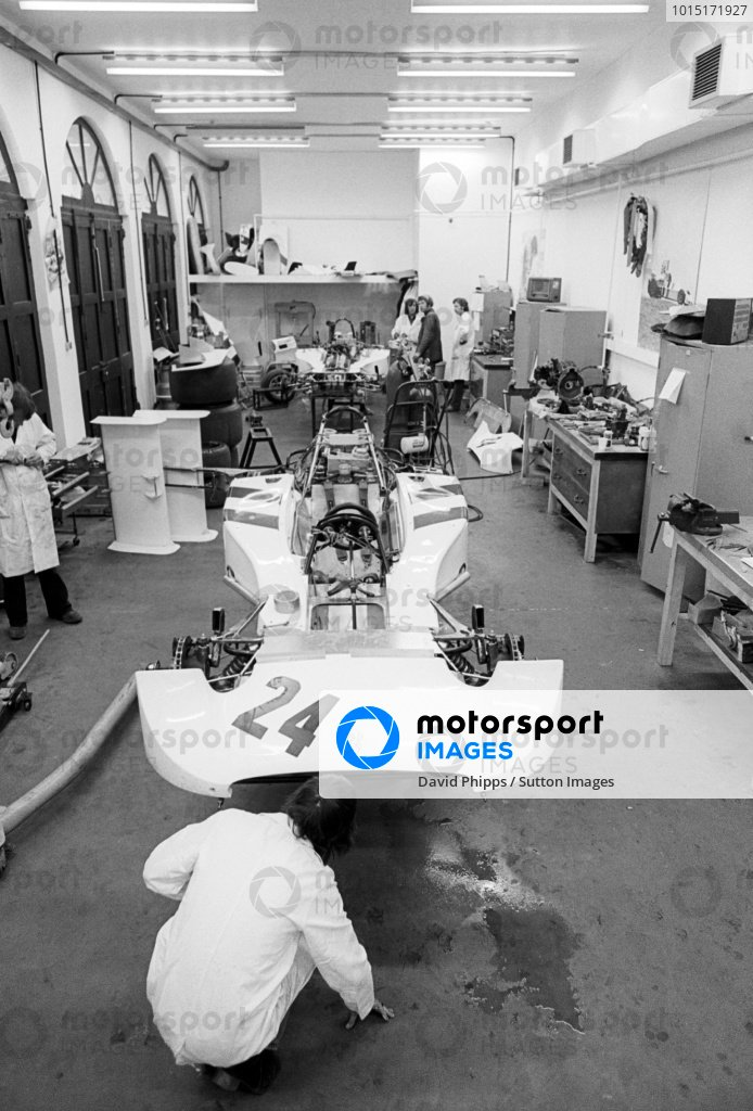 The Hesketh 308 is worked on at the headquarters of Hesketh Racing. Formula One World Championship, Easton Neston, Towcester, England, c. Late April 1974.