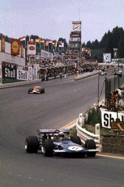 1970 Belgian Grand Prix.Spa-Francorchamps, Belgium.5-7 June 1970.Jackie Stewart (March 701 Ford) in Eau Rouge.Ref-70 BEL 04.World Copyright - LAT Photographic