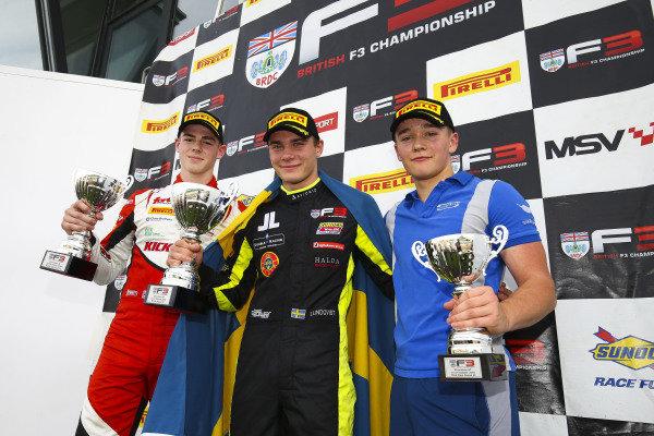 Race 1 Podium (l-r) Tom Gamble (GBR) Fortec Motorsports BRDC British F3, Linus Lundqvist (SWE) Double R BRDC British F3, Billy Monger (GBR) Carlin BRDC British F3