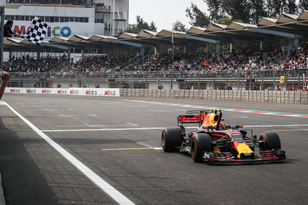 Race winner Max Verstappen (NED) Red Bull Racing RB13 takes the chequered flag at Formula One World Championship, Rd18, Mexican Grand Prix, Race, Circuit Hermanos Rodriguez, Mexico City, Mexico, Sunday 29 October 2017. BEST IMAGE