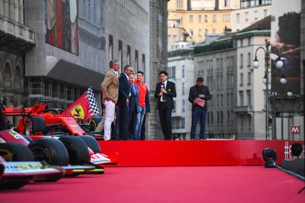 Maurizio Arrivabene, Stefano Domenicali, Jean Todt, and Mattia Binotto on stage