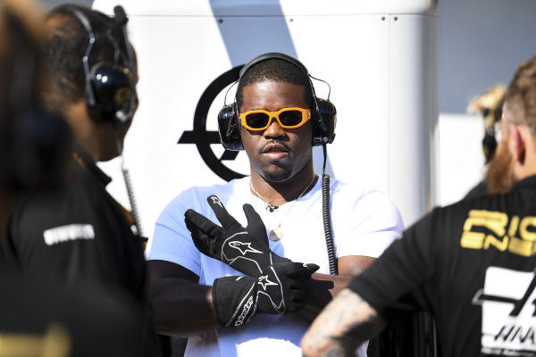 ASAP Ferg, American rapper during pit stop practice with Haas F1