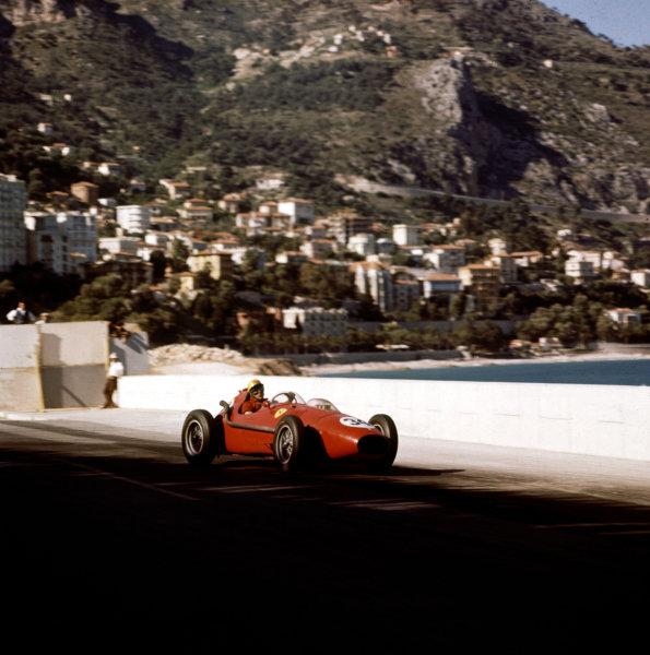 1958 Monaco Grand Prix.Monte Carlo, Monaco.15-18 May 1958.Luigi Musso (Ferrari Dino 246) 2nd position.Ref-3/0004.World Copyright - LAT Photographic