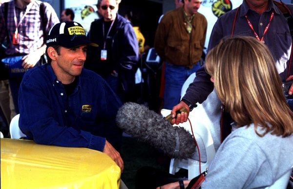 1998 Brazilian Grand Prix.Interlagos, Sao Paulo, Brazil.27-29 March 1998.Damon Hill (Jordan Mugen Honda) is interviewed for TV in Sao Paulo.World Copyright - LAT Photographic