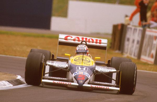 Silverstone, England.10-12 July 1987.Nigel Mansell (Williams FW11B Honda) 1st position.Ref-87 GB 30.World Copyright - LAT Photographic