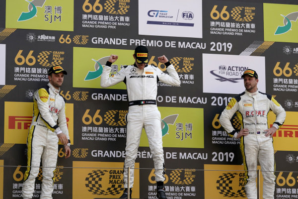 Podium: Race winner #999 Mercedes-AMG Team GruppeM Racing Mercedes AMG GT3: Raffaele Marciello, second place #99 ROWE Racing Porsche 911 GT3 R: Laurens Vanthoor, third place #98 ROWE Racing Porsche 911 GT3 R: Earl Bamber.