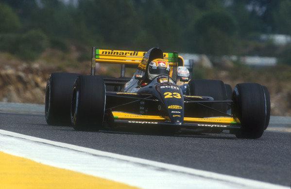 1991 Portuguese Grand Prix.Estoril, Portugal.20-22 September 1991.Pierluigi Martini (Minardi M191 Ferrari) 4th position.Ref-91 POR 13.World Copyright - LAT Photographic