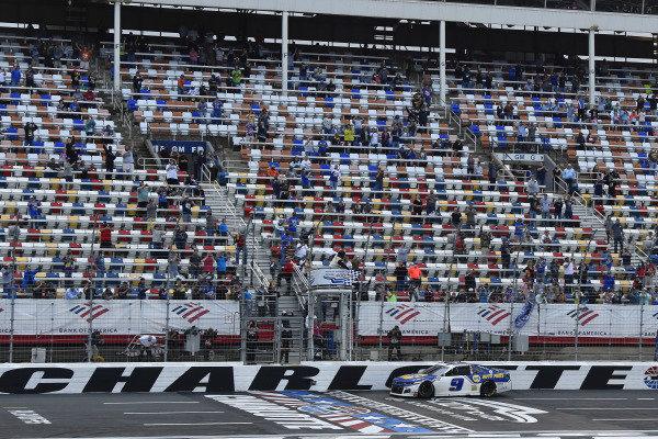 #9: Chase Elliott, Hendrick Motorsports, Chevrolet Camaro NAPA Auto Parts celebrates his win