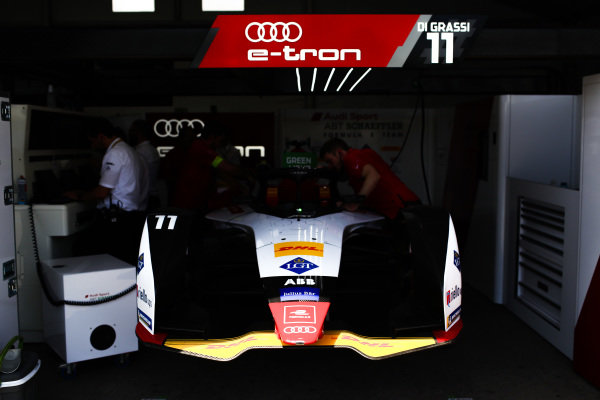 Car of Lucas Di Grassi (BRA), Audi Sport ABT Schaeffler, Audi e-tron FE05, in the garage