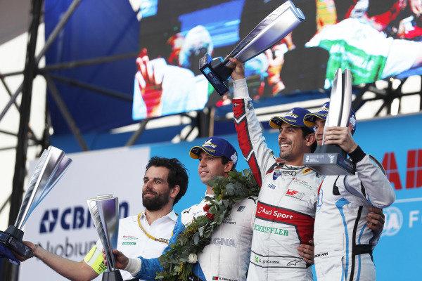 Antonio Felix da Costa (PRT), BMW I Andretti Motorsports, Lucas Di Grassi (BRA), Audi Sport ABT Schaeffler, and Edoardo Mortara (CHE) Venturi Formula E, celebrate on the podium.