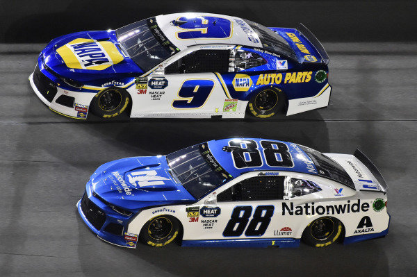 #88: Alex Bowman, Hendrick Motorsports, Chevrolet Camaro Nationwide and #9: Chase Elliott, Hendrick Motorsports, Chevrolet Camaro NAPA AUTO PARTS