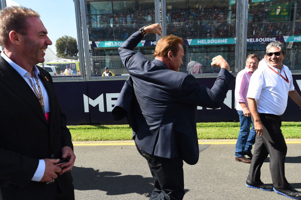 Arnold Schwarzenegger (AUT) at Formula One World Championship, Rd1, Australian Grand Prix, Race, Albert Park, Melbourne, Australia, Sunday 20 March 2016.