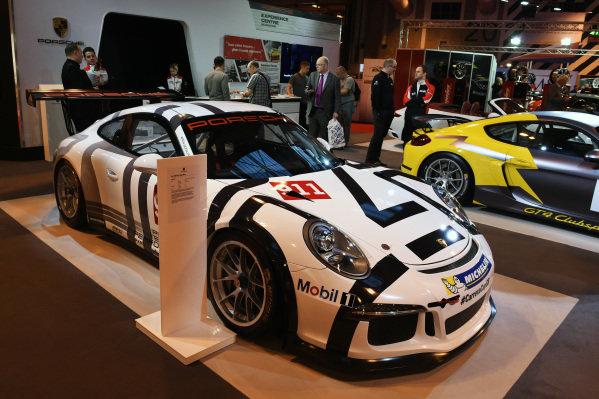 Porsche Team Manthey Porsche 911 RSR at Autosport International Show, NEC, Birmingham, England, 14-17 January 2016.