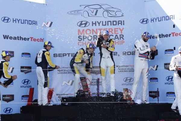 #4: Corvette Racing Corvette C8.R, GTLM: Tommy Milner, Nick Tandy, podium, winner, #3: Corvette Racing Corvette C8.R, GTLM: Antonio Garcia, Jordan Taylor, #79: WeatherTech Racing Porsche 911 RSR - 19, GTLM: Cooper MacNeil, Matt Campbell, champagne