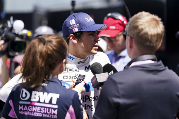 Lance Stroll, Racing Point, is interviewed after Qualifying
