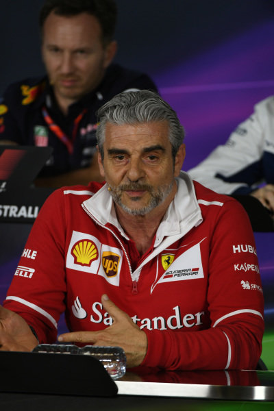 Maurizio Arrivabene (ITA) Ferrari Team Principal in the Press Conference at Formula One World Championship, Rd1, Australian Grand Prix, Practice, Albert Park, Melbourne, Australia, Friday 24 March 2017.